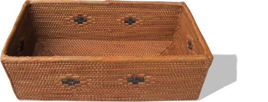 Längliche offene Aufbewahrungsbox  mit schönem, eingewebtem schwarzen Muster