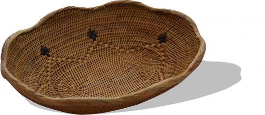 Brotkorb mit Wellenrand und schwarzem Muster 31 cm x 25 cm x 5,5 cm