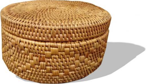 Formschöner runde Schmuckdose in erstklassiger Verarbeitung mit schön geflochtenem Muster