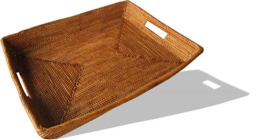 Tablett viereckig mit eingearbeiteten Griffen Länge 35 cm x Breite 27,5 cm x Höhe 5 cm